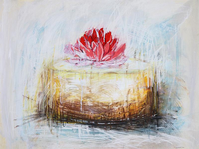 cheesecake art, dessert art, cheesecake painting, waterlily art, sara richardson