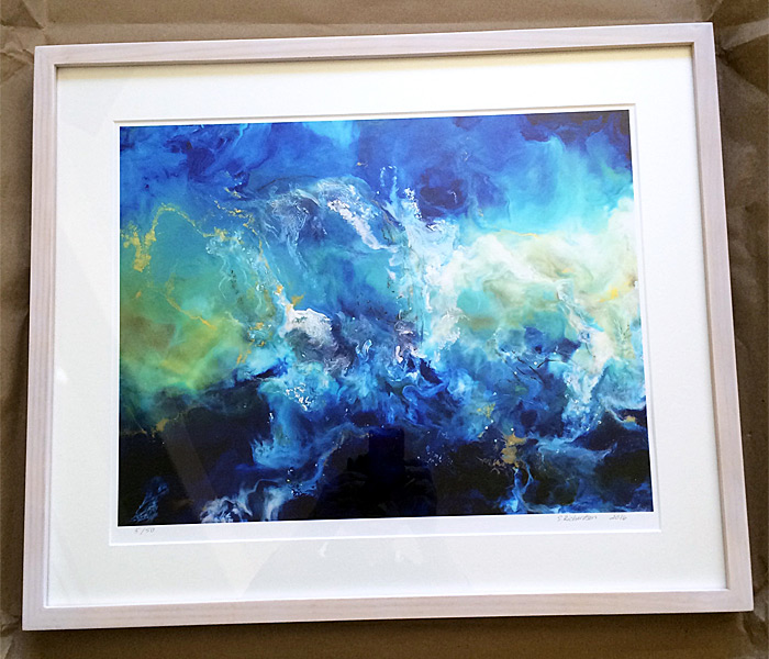 Framed limited edition giclee of Poseidon's Letter No.1 by Sara Richardson
