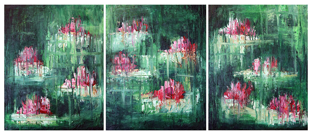 Abstract water lily painting by fine artist Sara Richardson