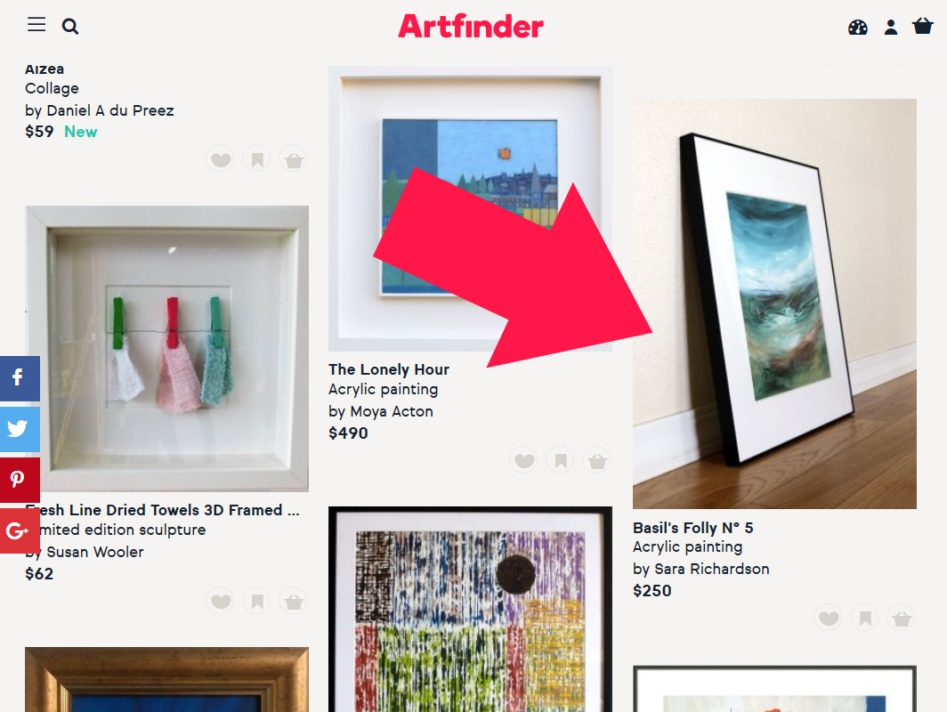 Screencap of Artfinder Sara Richardson featurd artist