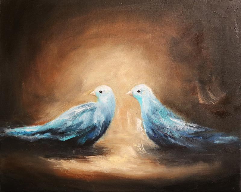 Little birds un petit secret oil painting by fine artist Sara Richardson