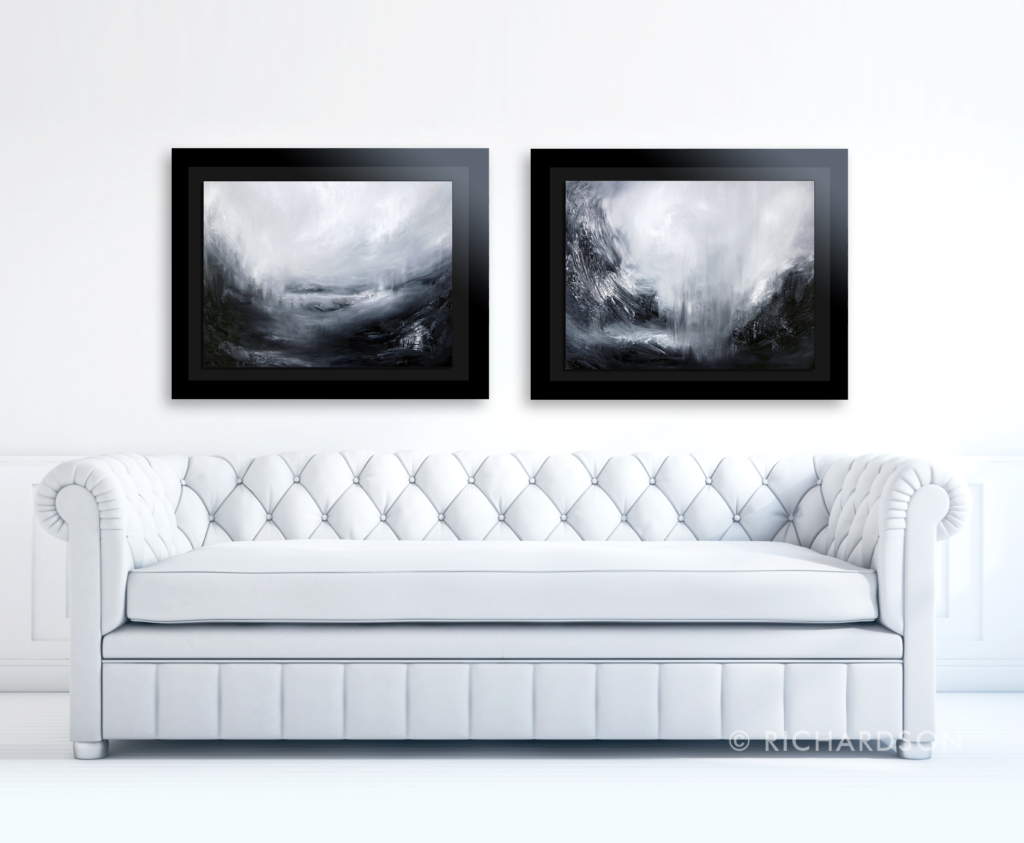 Black and white contemporary landscape oil paintings by fine artist Sara Richardson