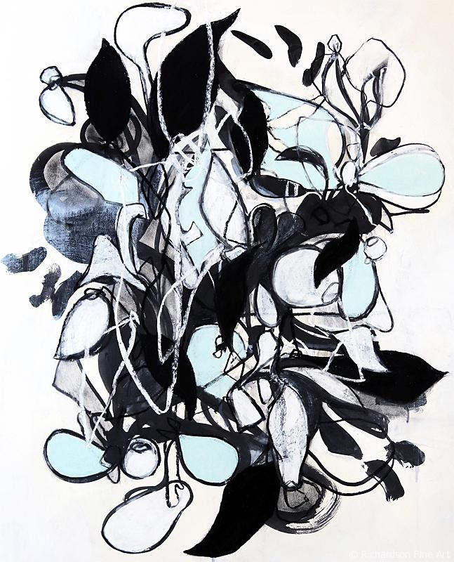 Original abstract organic nature inspired drawing by contemporary artist Sara Richardson