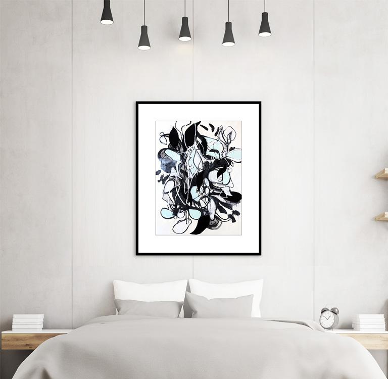 Original abstract nature mixed media drawing by comteporary artist Sara Richardson