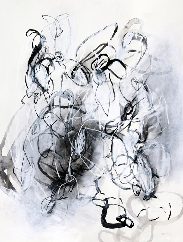 Abstract organic nature drawings by contemporary artist Sara Richardson