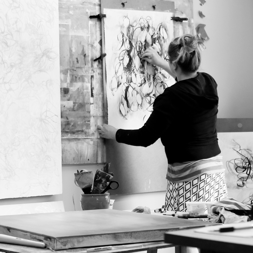 Contemporary artist Sara Richardson inside the studio