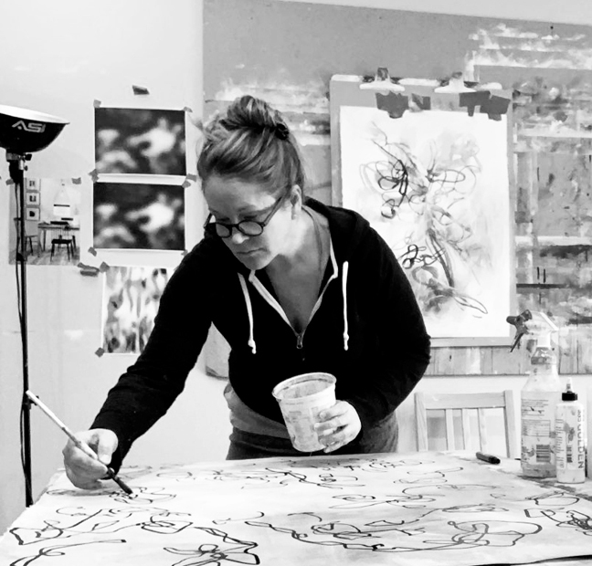 Contemporary artist Sara Richardson at work in the studio