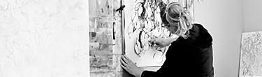 Sara Richardson at work in the artist studio