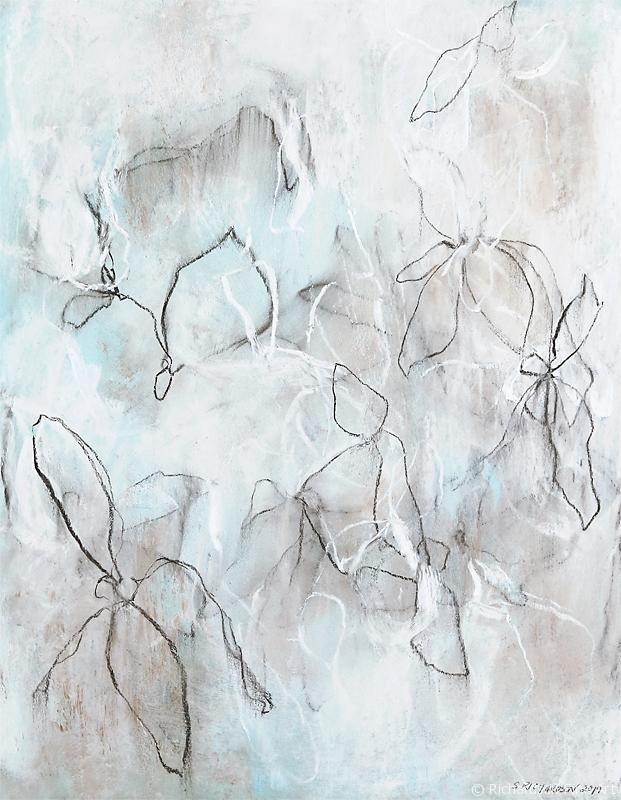 Drawing Mixed Media Abstract Flowers by contemporary artist Sara Richardson