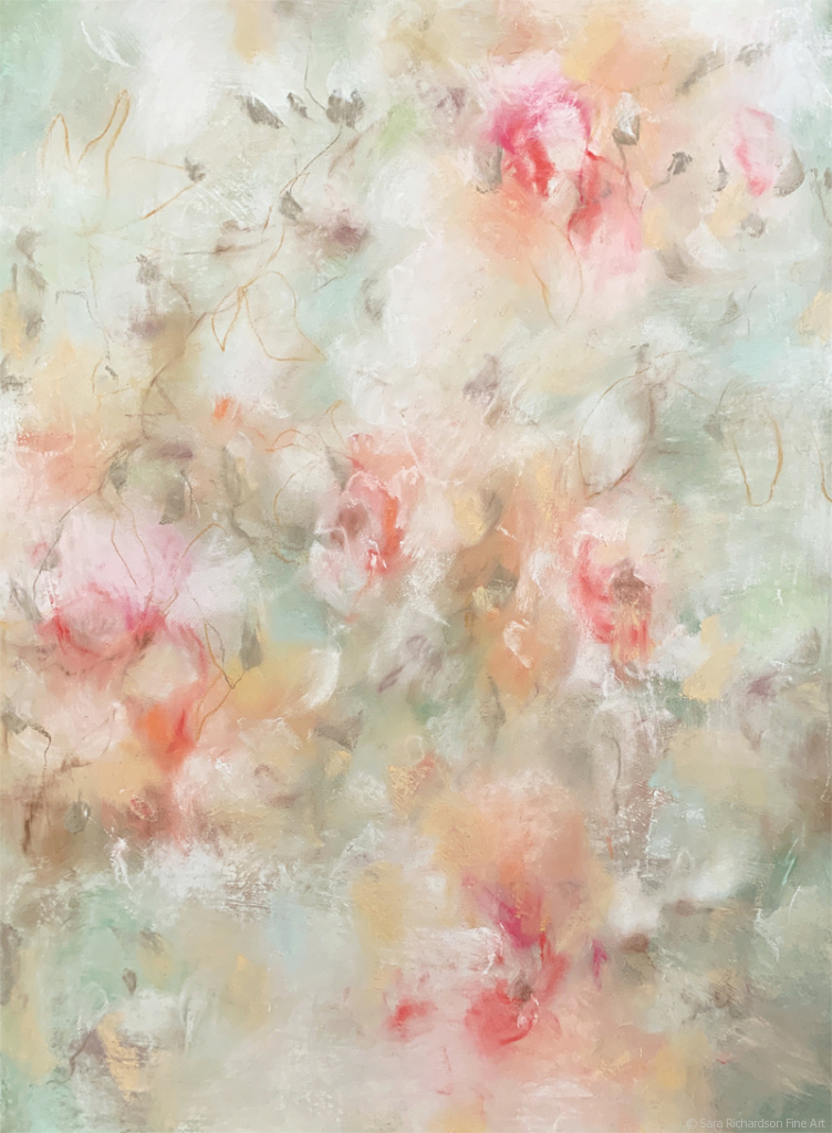 Contemporary nature and floral Drawing Peach Gelato In The Garden